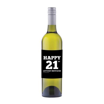 Happy 21st Wine label sticker - WL012 - F00024