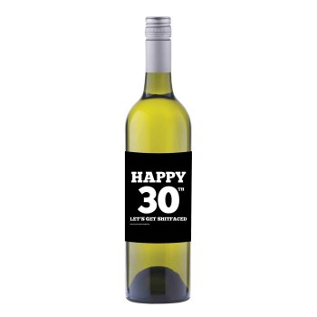 Happy 30th Wine label sticker - WL013 - F00023