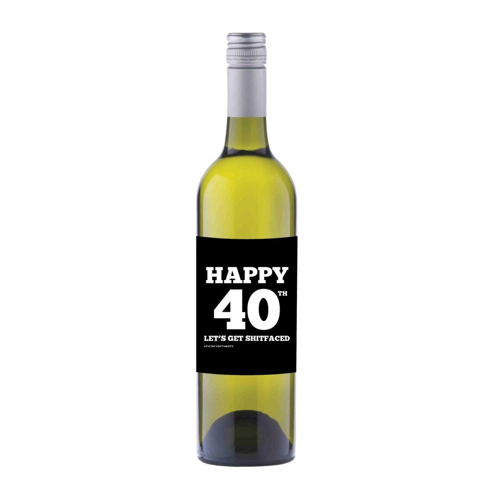 Happy 40th Wine label sticker - WL014