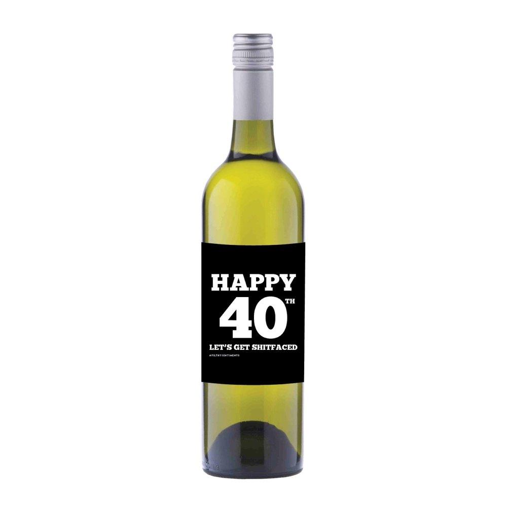 Happy 40th Wine label sticker - WL014
