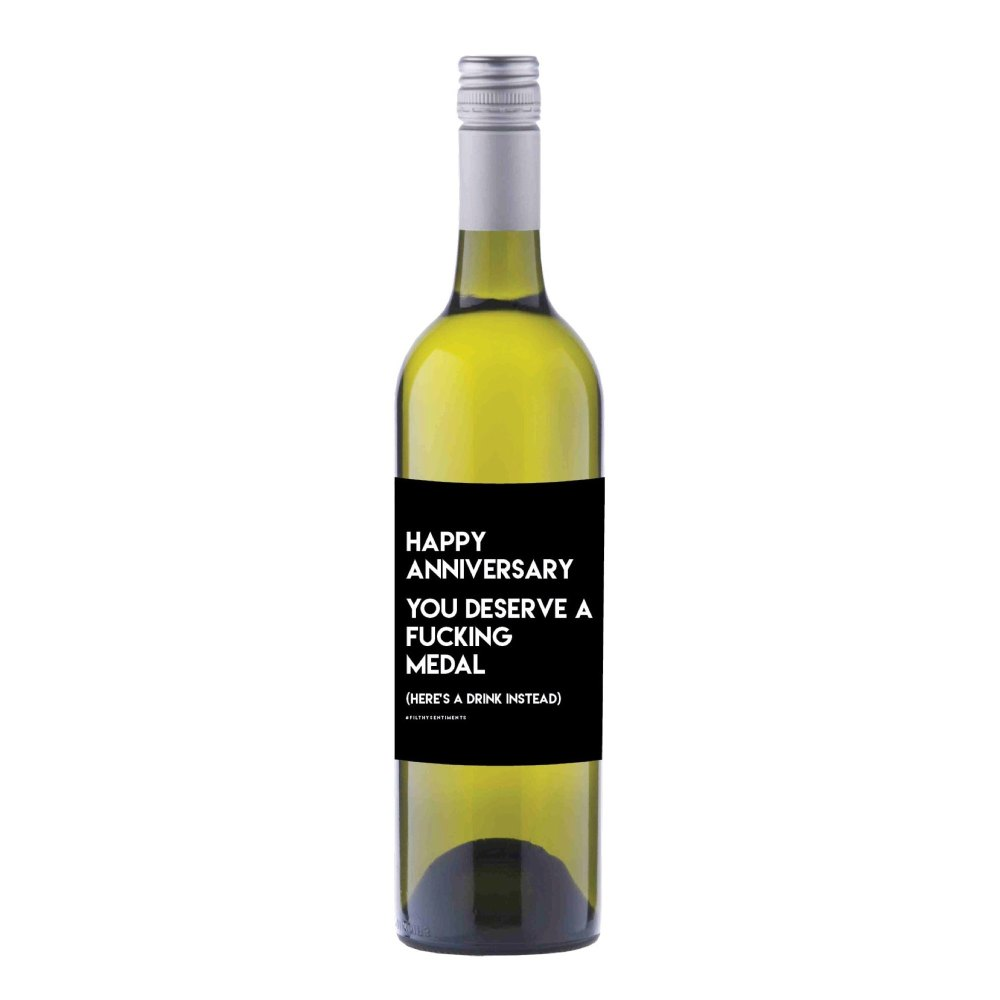 Happy Anniversary medal Wine label sticker - WL015