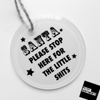 Personalised Glass Bauble - SANTA please stop here
