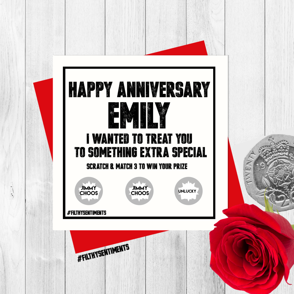 *NEW* PERSONALISED ANNIVERSARY SCRATCH CARD PER21