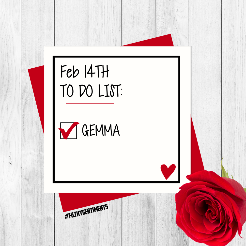 *NEW* PERSONALISED VALENTINES TO DO LIST CARD