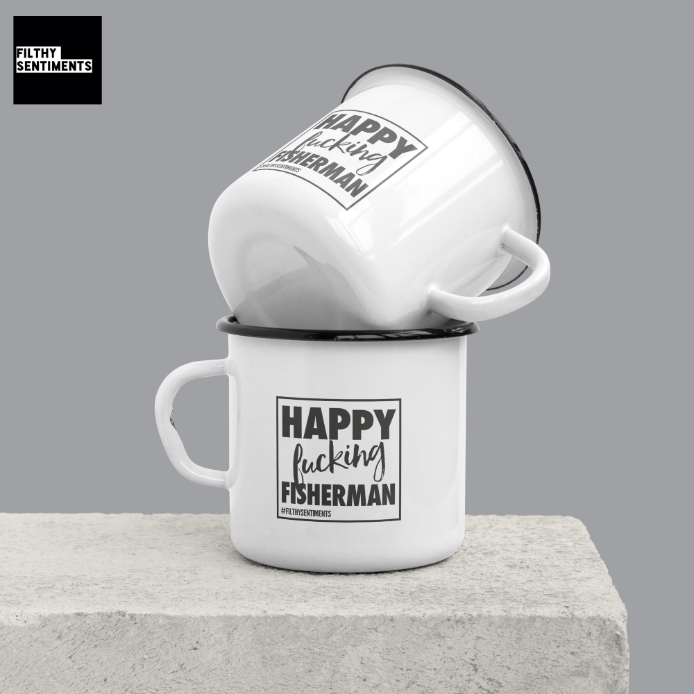 ENAMEL METAL MUG - HAPPY FISHING FISHERMAN