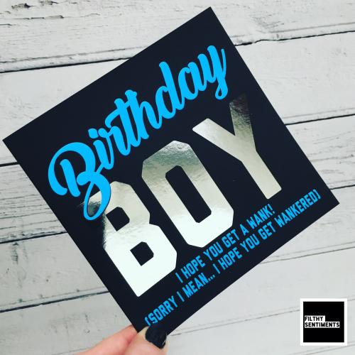 BIRTHDAY BOY WANKERED FOIL CARD - FS830