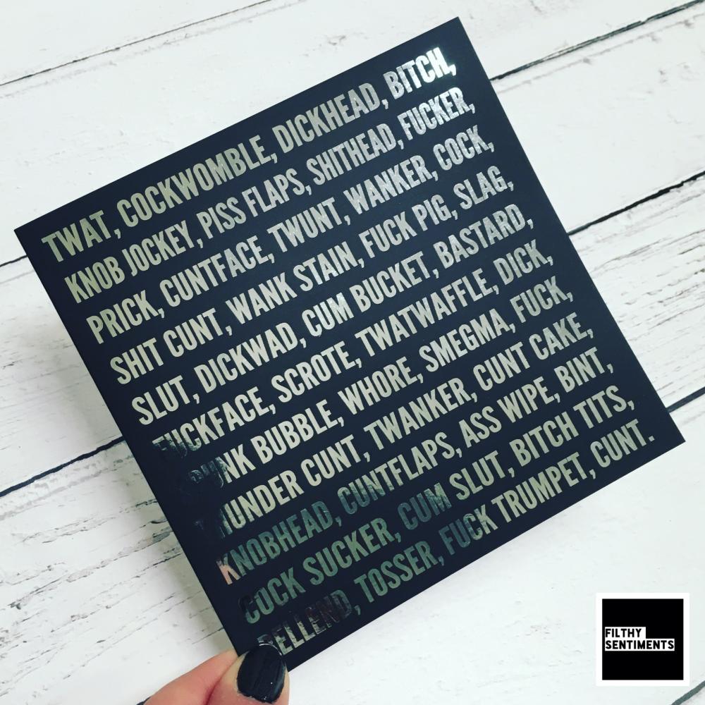 SWEAR WORDS FOIL CARD - FS825