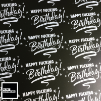 Happy Fucking Birthday Silver & Black Wrapping Paper - D00045