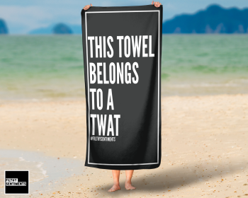 BELONGS TO A TWAT BLACK TOWEL - K030