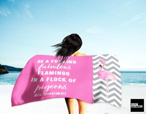 FLAMINGO NAUGHTY TOWEL