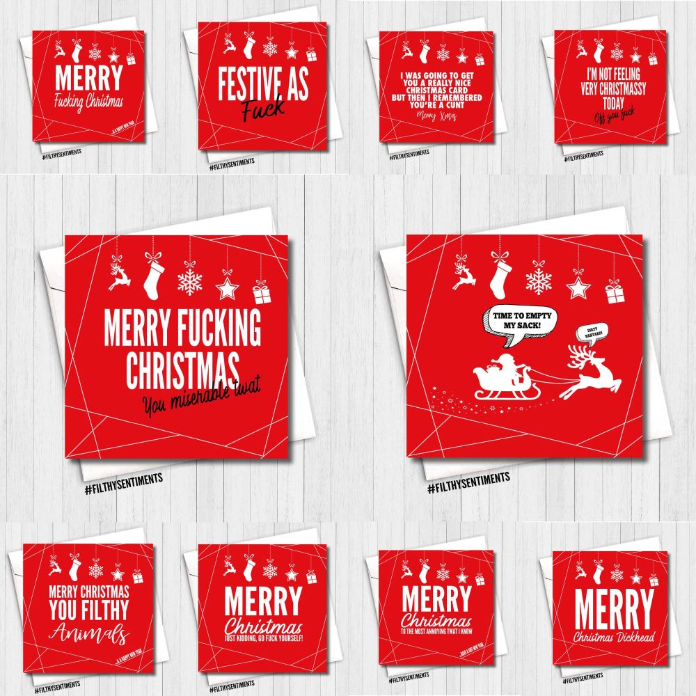 NEW RED MERRY XMAS CARD PACK OF 10 -