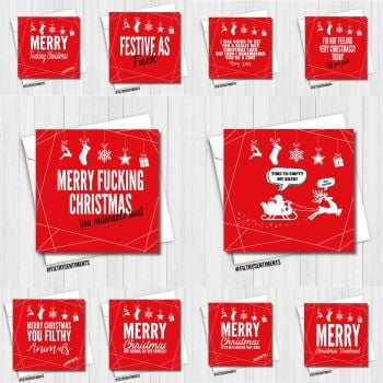 A VERY MERRY RED XMAS CARD PACK OF 10 -