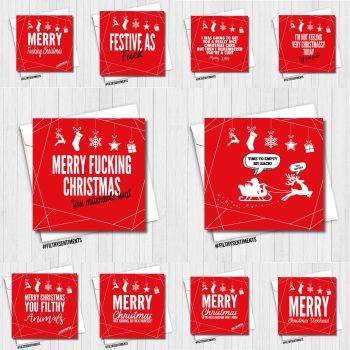 A VERY MERRY MIXED RED XMAS CARD PACK