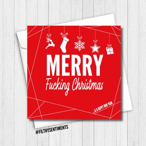 MERRY FUCKING CHRISTMAS RED CARD - FS349
