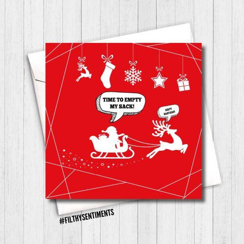 EMPTY SANTAS SACK RED CARD - FS350
