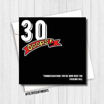30 OOPS BIRTHDAY CARD