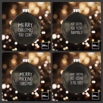 Black Christmas Bauble Decoration Set of 4