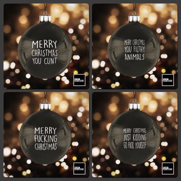 Black Christmas Bauble Decoration Set of 4