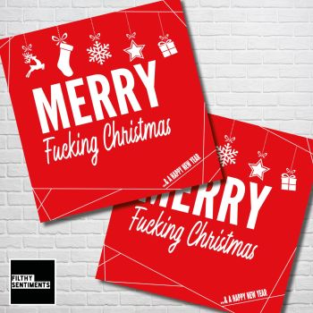 MERRY FUCKING CHRISTMAS RED CHRISTMAS CARD PACK - FS349