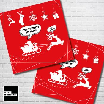 EMPTY SANTAS SACK RED CHRISTMAS CARD PACK - FS351