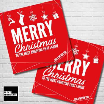 ANNOYING TWAT RED CHRISTMAS CARD PACK - FS352