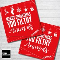 MERRY CHRISTMAS FILTHY ANIMALS RED CHRISTMAS CARD PACK - FS354