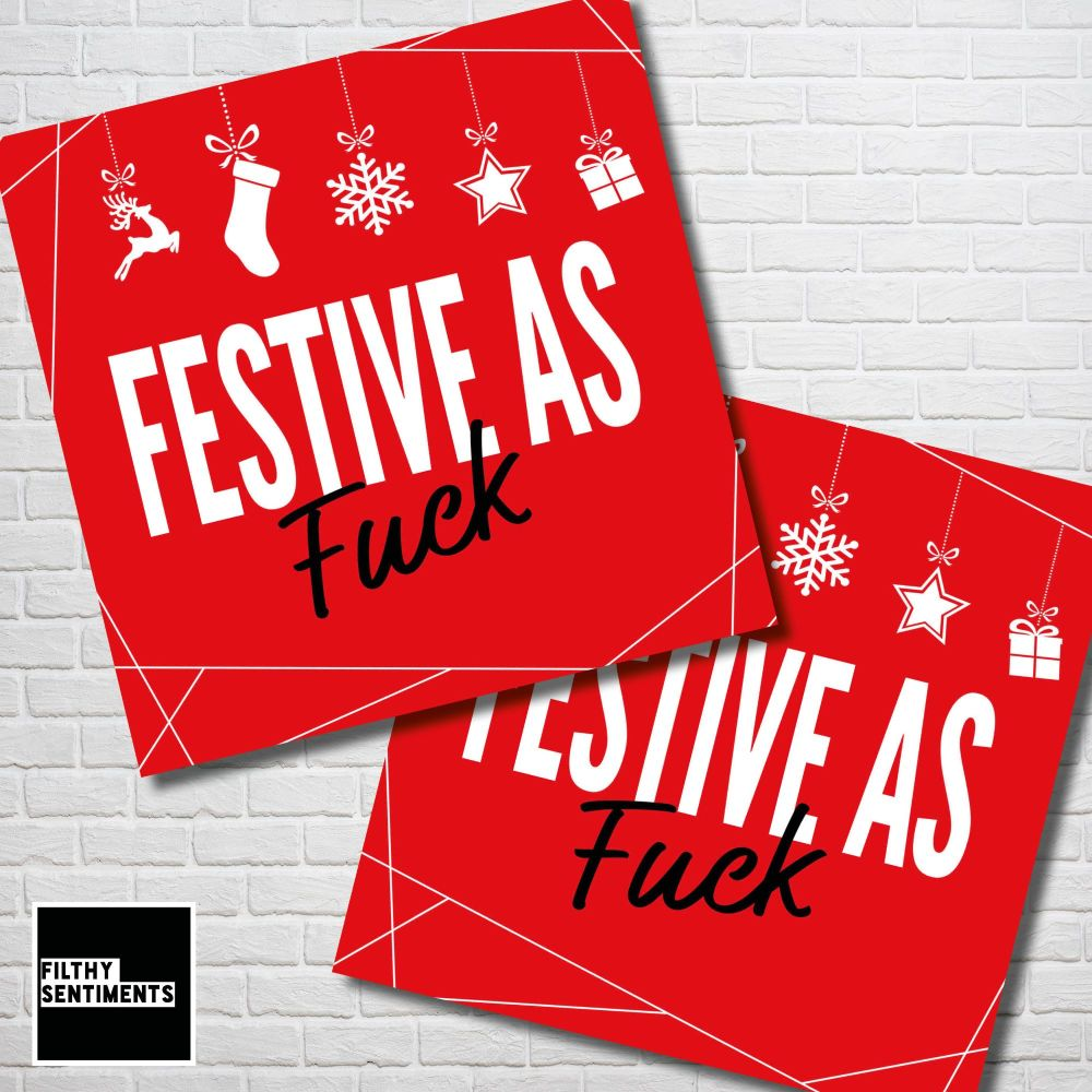 FESTIVE AS FUCK RED CHRISTMAS CARD PACK - FS358