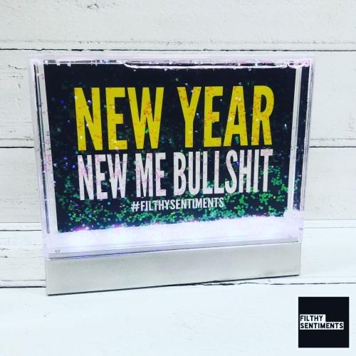 LED New Year New Me Bullshit Light Up Glitter Frame