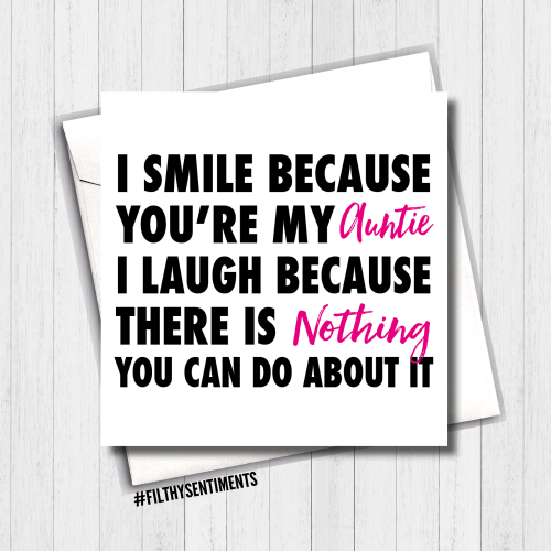 I Smile Auntie Card - FS392