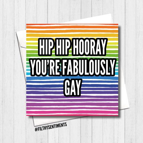 Hip Hip Hooray Fabulously Gay Card - FS419