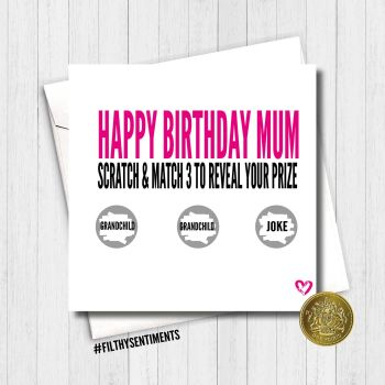 BIRTHDAY PINK MUM  SCRATCH CARD  - FS438