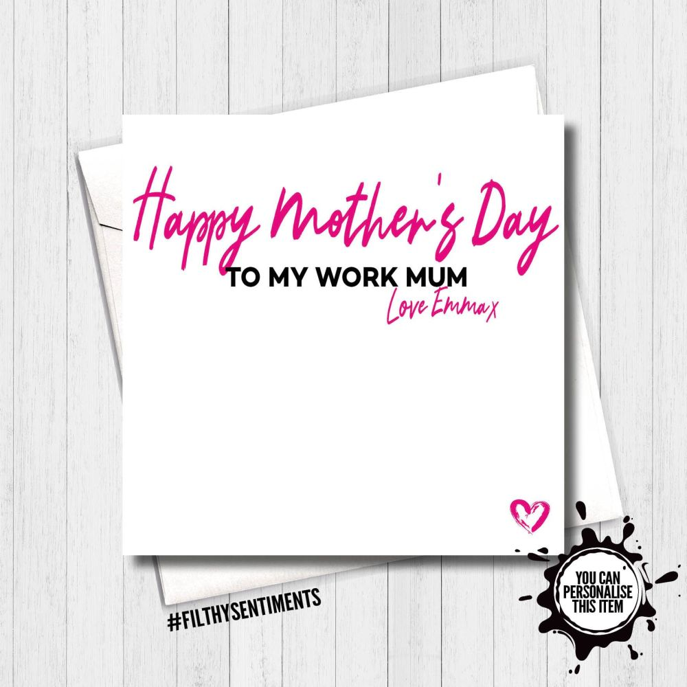 Mother's Day Personalised Work Mum Card - FS441