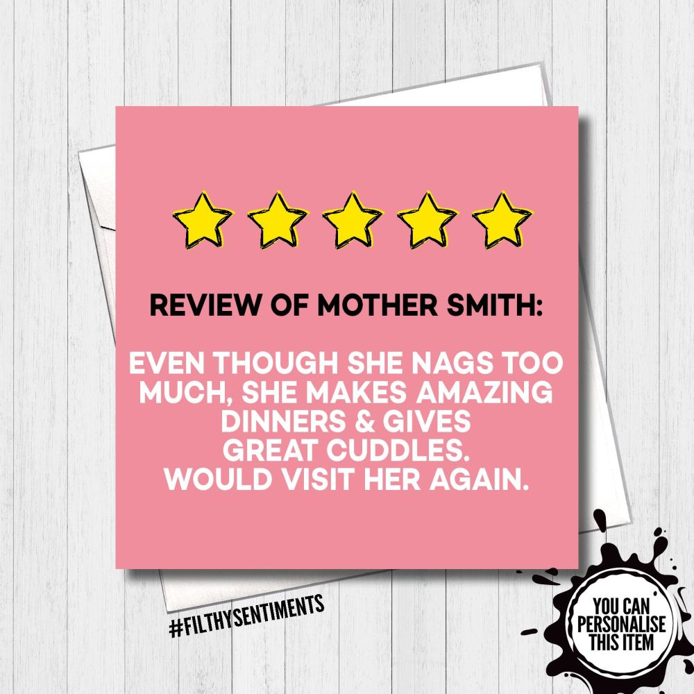 Five Star Review of Mum Personalised Card - FS445