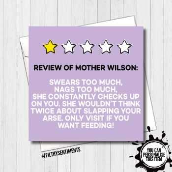 Funny One Star Review of Mum Personalised Card - FS446