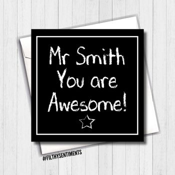 Personalised awesome teacher card FS470
