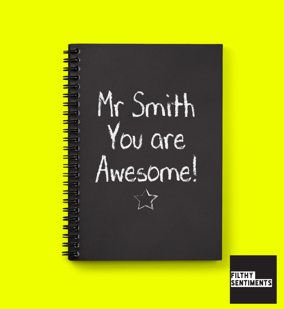 AWESOME TEACHER BLACKBOARD PERSONALISED NOTEBOOK - N014