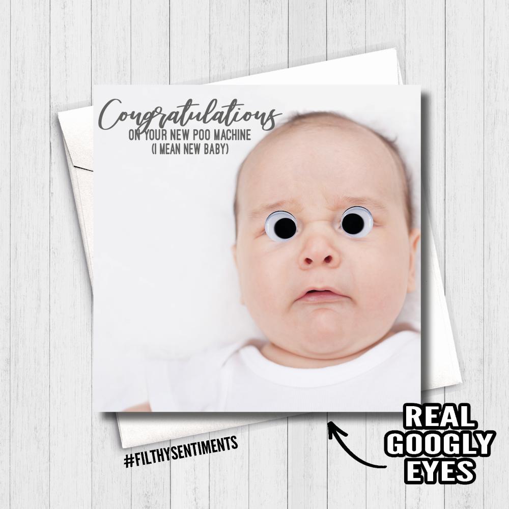 NEW BABY GOOGLY EYES CARD - FS472