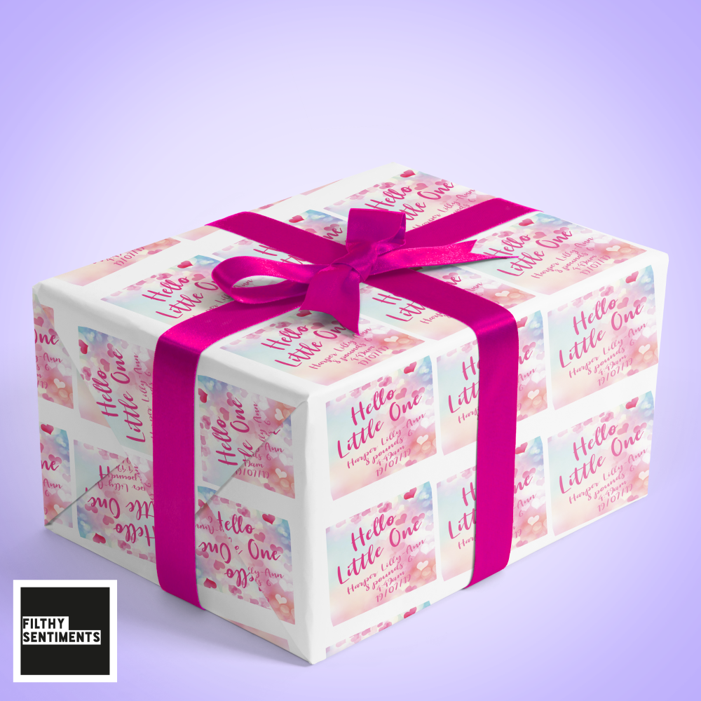 HELLO LITTLE ONE PERSONALISED WRAPPING PAPER - W003