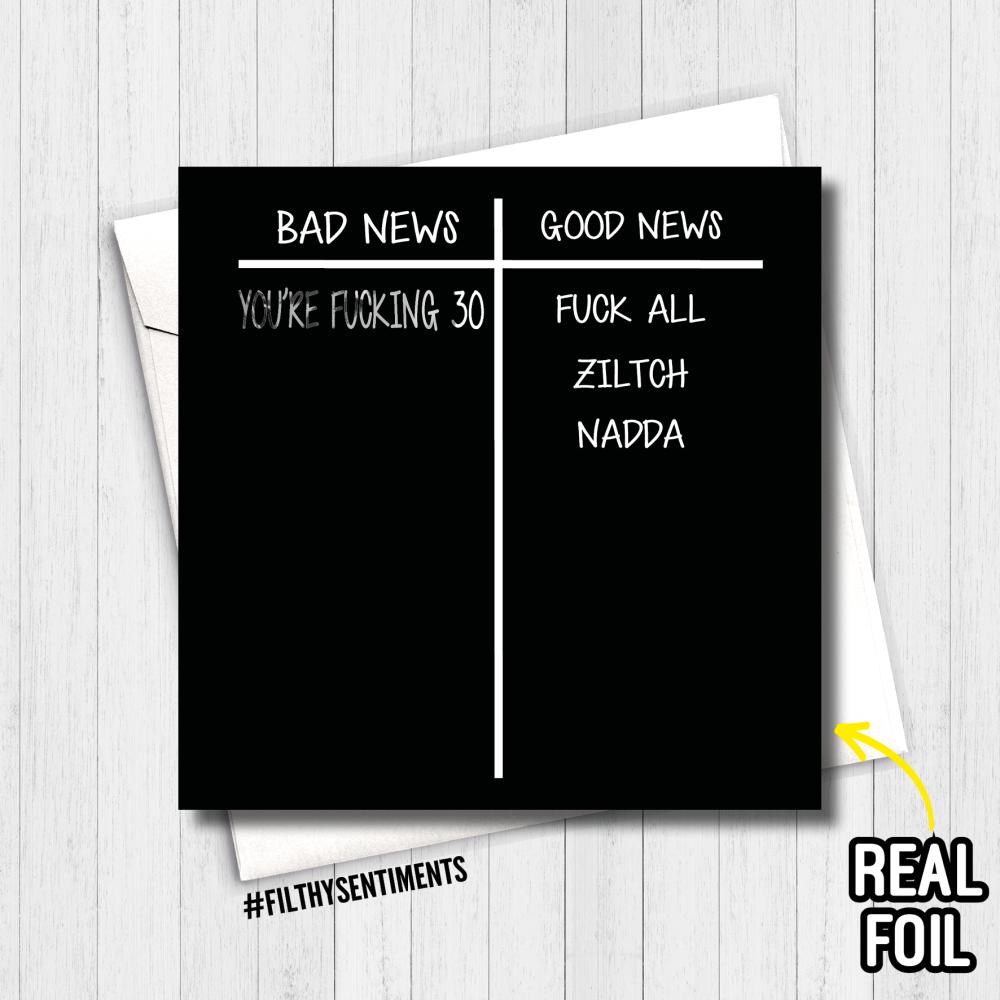 30 BAD NEWS FOIL CARD - FS806 - R0008