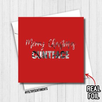FOIL CUNTFACE MERRY CHRISTMAS CARD - FS817