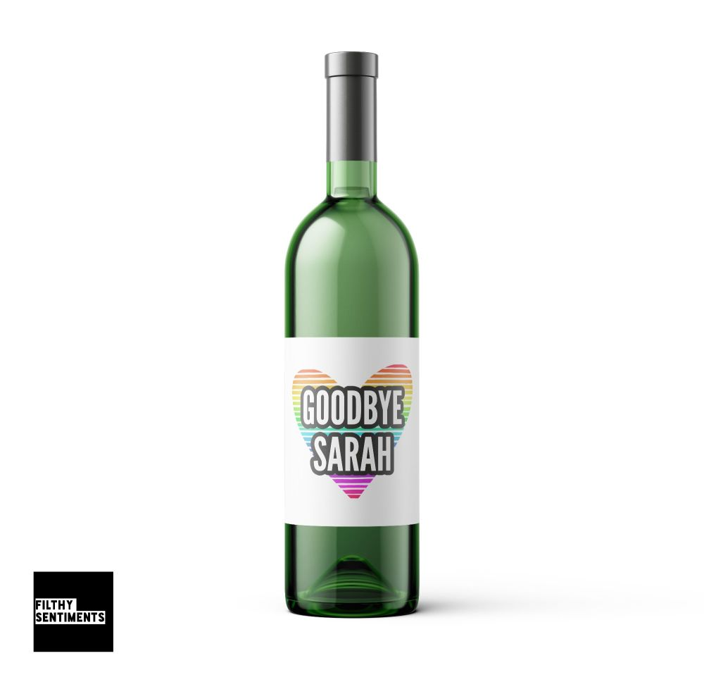 PERSONALISED GOODBYE WINE BOTTLE LABEL - 005