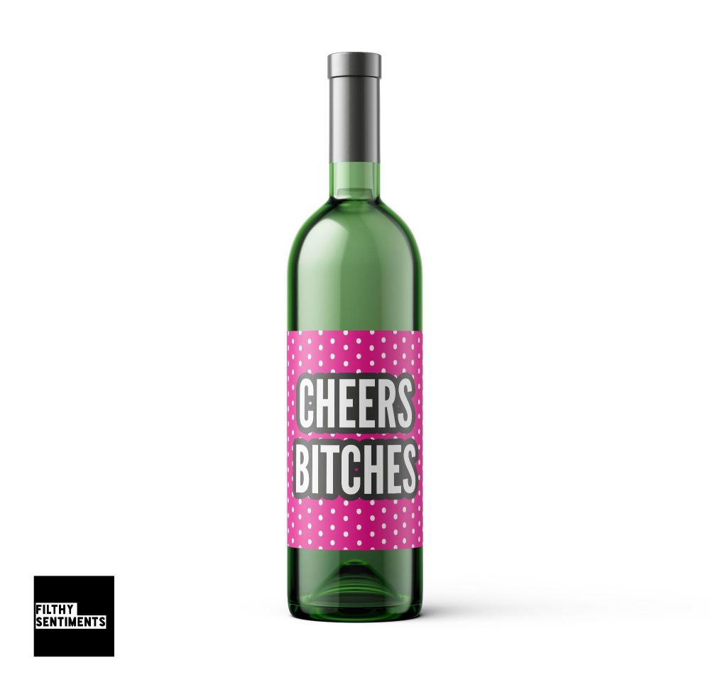 CHEERS PINK WINE BOTTLE LABEL - 006