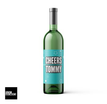 PERSONALISED CHEERS WINE BOTTLE LABEL - WBL009