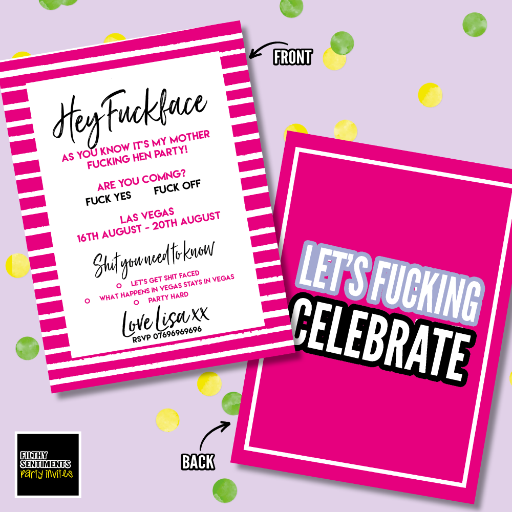 PERSONALISED FUCKFACE PARTY INVITE - 002