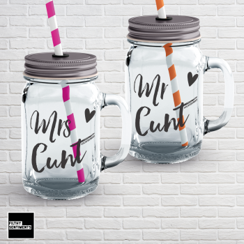 MR & MRS MATCHING MASON JAR GLASS SET
