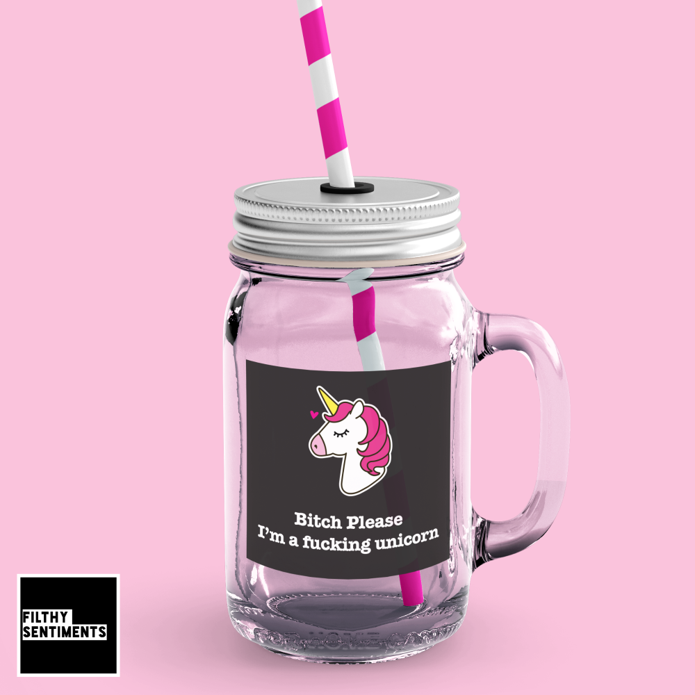 *NEW* UNICORN MASON JAR GLASS