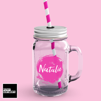PINK SPLAT PERSONALISED MASON JAR GLASS