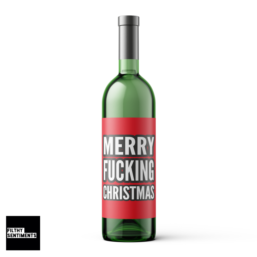 RED MERRY FUCKING CHRISTMAS WINE BOTTLE LABEL - WBL014