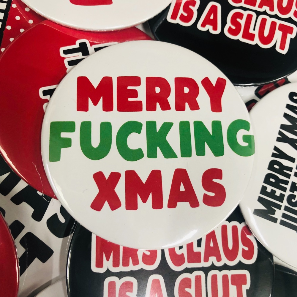 MERRY FUCKING XMAS ROUND BADGE