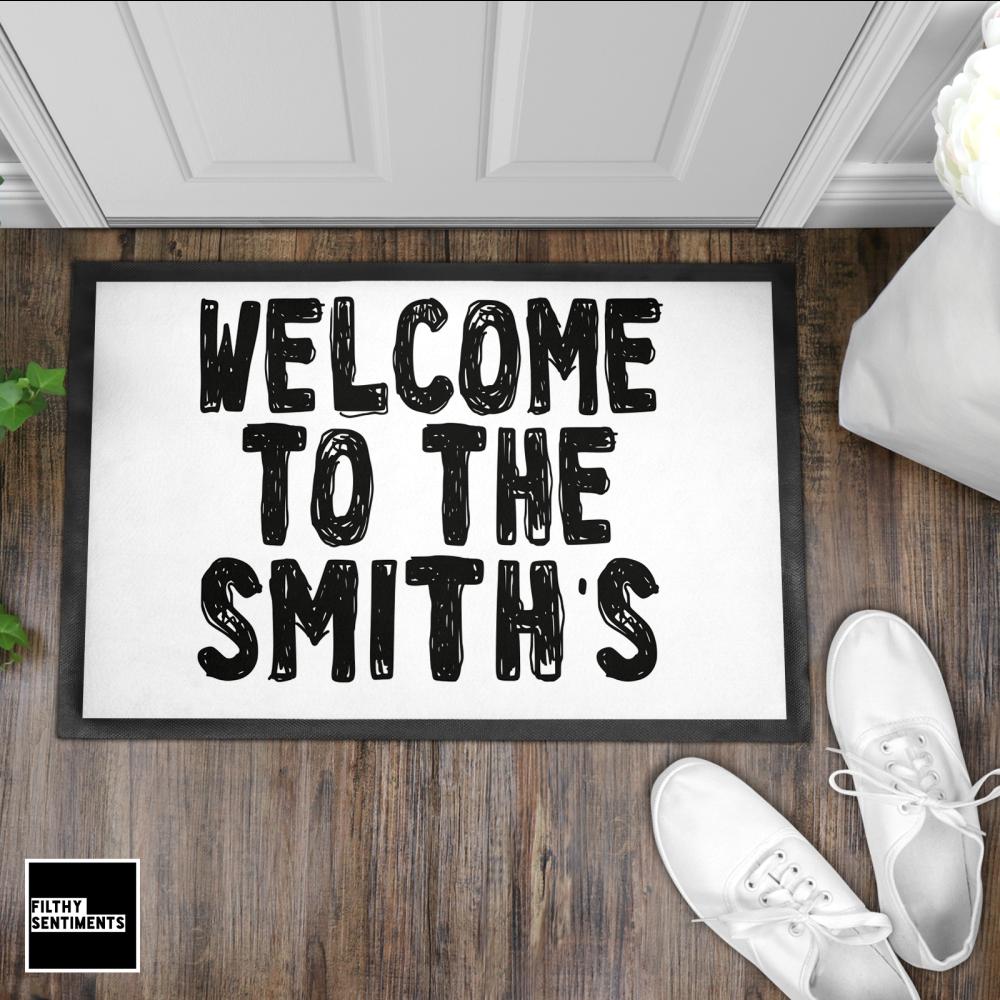 PERSONALISED DOODLE WELCOME DOOR MAT - DM4